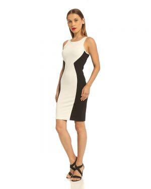 שמלה צמודה בשחור לבן