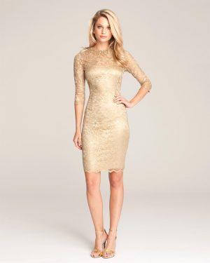 שמלת תחרה מוזהבת