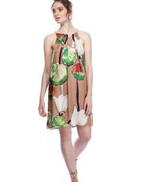 שמלת משי קלילה בהדפס נימפאות