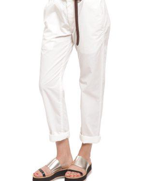 מכנסי כותנה לבנים עם כיסים