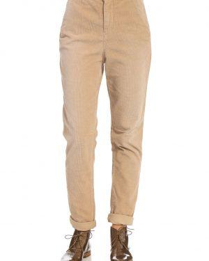 מכנסי קטיפה ארוגה בצבע בז