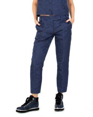 מכנס רקום סיני בכחול